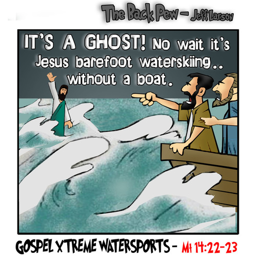 This gospel cartoon features Jesus walking on water
